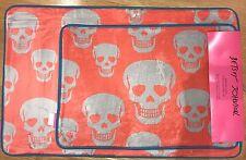 Betsey Johnson SUGAR SKULL Memory Foam Bath Rug Mat Set Orange Blue Trim Skulls
