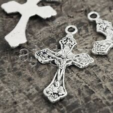 50Pcs Tibetan Silver Cross Jesus Charms Pendants TS0796