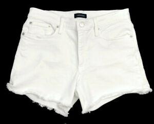 J.Crew Women's White Denim Shorts Raw Hem Jean Cut Offs Size 28 Mid Rise