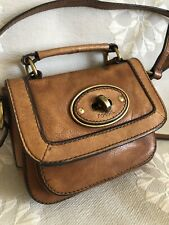 RARE Fossil Mini Turnlock Crossbody Flap Bag Rugged Leather
