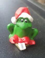 Vintage 1991 Hallmark Merry Miniatures Christmas Frog Bow Package Figure