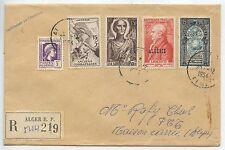 LETTRE RECOMMANDE / ALGERIE ALGER / AFFRANCHISSEMENT COMPOSE MAISON CARRE 1956