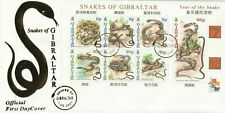 GIBRALTAR 1 FEBRUARY 2001 SNAKES OF GIBRALTAR M/SHEET UNADD FIRST DAY COVER SHS