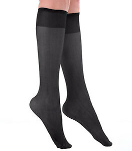 Women's Plus Size Queen Mild Compression Microfiber Knee High Stockings 2-Pack