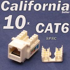 10 Pcs Beige Keystone Jack CAT6 Network Ethernet 110 Style Punch Down 8P8C RJ45