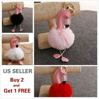 Soft Cute Flamingo Rabbit Fur Ball PomPom Cell Phone Car Handbag Keychain