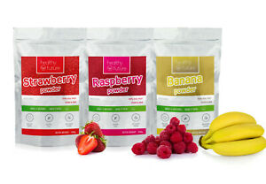 3x 100g Freeze Dried POWDERS Raspberries Strawberries Banana Bundle Pack