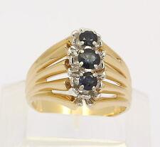 ♦♦ Bicolor Ring in 18 kt 750er Gelb Weiß Gold mit Saphiren Saphir Safir Massiv ♦
