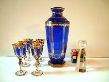 MOSER signed Cobalt Blue and Gold Gilt Decanter and 6 cordials stemmed glasses