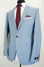 Men's Light Blue Summer Cruise Wedding Slim Fit Suit 36R W32 L31.5 EZ412