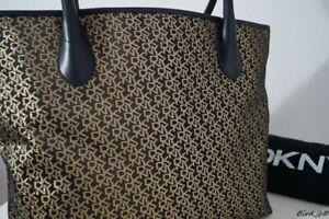 DKNY BLACK GOLD LOGO HANDBAG SHOULDER TOTE SHOPPER BAG LARGE NEW!!!