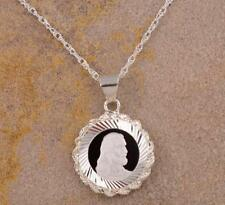 .999 Silver Jesus Christ Coin in Sterling Silver Dia.-Cut Rope Pendant + Chain