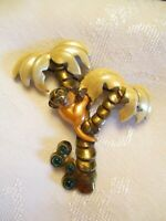 VERY RARE 1930's Vintage ENAMEL & Rhinestone PIN = MONKEY IN A PALM TREE