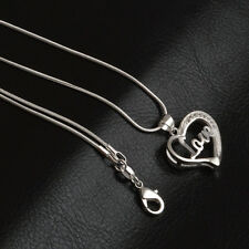 Luxury Crystal Love Heart Pendant Women's Silver Plated Necklace Chain Jewelry