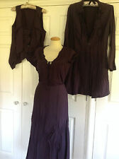 SANDWICH aubergine purple 4 pc skirt tops & jacket quirky lagenlook set 42 UK 16