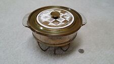Anchor Hocking Fire King gold fleck casserole & stand Regalia Georges Briard lid