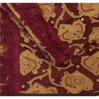 "Tcw Vintage Organza Silk Hand Beaded Design Fabric Decor Craft 35""X44"""