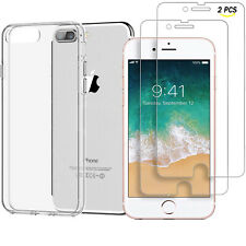 For iPhone 8 Plus Crystal Clear Transparent Soft TPU Back Cover Phone Case