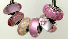 6X Authentic Pandora 925 ale  silver beads  charm pink daisies blossom flower
