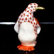 "HEREND GUILD, MINIATURE 2"" PENGUIN PORCELAIN FIGURINE, RUST FISHNET, FLAWLESS"