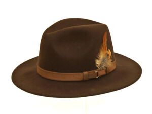 BRAND NEW LADIES BROWN COLOUR WOOL CASUAL CRUSHABLE OUTDOOR TRILBY FEDORA HAT