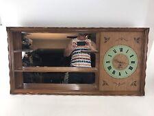 Vintage Mid Century Turner Large Wall  Shadowbox Mirror Shelf hanging Clock