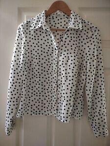 Precis Petite Black Polka Dot White Blouse Shirt Small 6/8
