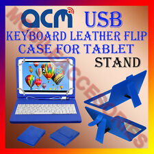ACM-USB KEYBOARD CASE BLUE for VIEWSONIC VIEWPAD 10E TABLET FLIP COVER