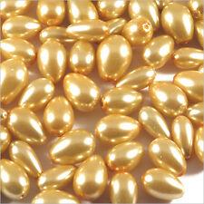 Lot de perles Nacrées Gouttes en verre 7-15mm Mix Jaune Aurore 100g