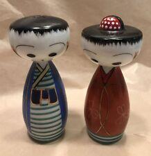 Adorable Vintage Japan Man & Woman Kimono Salt & Pepper Shakers Porcelain Set