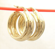 """1"""" Bordered Twisted Wire Wide Round Hoop Earrings Real 14K Yellow Gold"""
