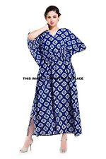 100% Cotton Long Indigo Blue Women Kaftan Caftan Boho Dress Large Free Size Gown