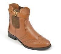 Womens Ladies Ankle High Brogue Chelsea Biker Boots Shoe Buckle Size 3 4 5 6 7 8