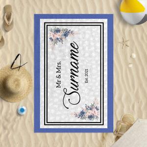 "58x39"" Personalised Summer Wedding Mr & Mrs Microfibre Beach Towel Summer"