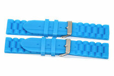 2 PIECES 22MM BRIGHT BLUE SILICONE RUBBER SPORT WATCH BAND STRAP FITS FOSSIL