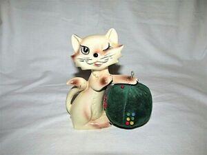 VTG CERAMIC SIAMESE CAT W VELVET BALL PINCUSHION AND TAPE MEASURE JAPAN SEWING