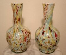 Stevens and Williams English Art Glass Spangle Ware Silver Mica Vases