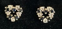 Sterling silver & sapphire vintage Art Deco antique pair of earrings