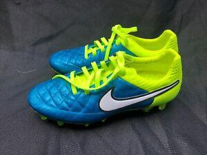 Nike Tiempo Laguna Blue & Volt Leather Soccer Cleats Women's 7