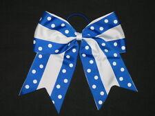"New ""Double Dots Royal & White"" Cheer Bow Pony Tail Ribbon Hair Cheerleading"