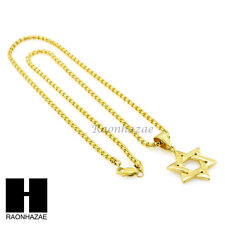 """316L STAINLESS STEEL GOLD STAR OF DAVID PENDANT 4mm 24"""" BOX CHAIN NECKLACE N236"""