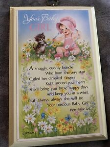 VTG Your Baby Girl Wooden Wall Hanging Plaque Yellow Nursery Decor 1977