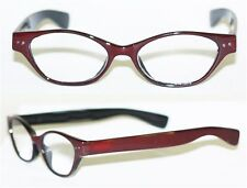 """Reading Glasses """" FUNKY Chunky FAT Cat Eye """" BOLD Cocoa Brown Frame Reader +1.50"""