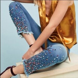 Pilcro and the Letterpress Slim Straight Jeweled Jeans Size 26