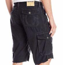 True Religion Men Cargo Black   Shorts 36