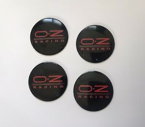 Set of 56mm BLACK Racing Domed Wheel Centre Cap Cover Stickers For:Car OZ