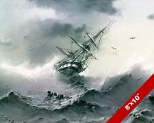 SHIPWRECK IN MASSIVE STORM SHIP SAILBOAT SEASCAPE PAINTING ART REAL CANVAS PRINT
