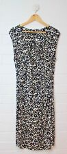 BASQUE PETITE Black White Tan Empire Waist Wrapped Bodice Dress Size 12