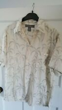 TORI RICHARD Men's  cream palm tree  Hawaiian Aloha Shirt 100% Silk mefium/large