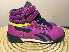 REEBOK Freestyle Classic Hi Top Size Youth 11 Purple / Navy / Yellow V63069